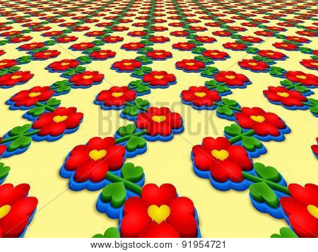 Heart Flowers Perspective Image
