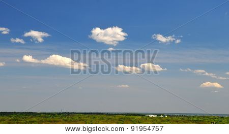 White Clouds And Green Field Wallpaper