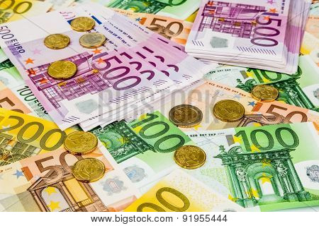 many different euro bills. symbolic photo for wealth and investment.