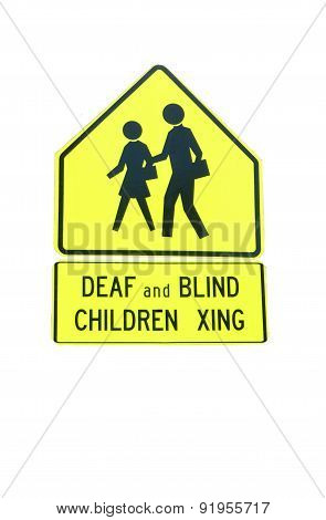 Deaf and Blind children crossing sign