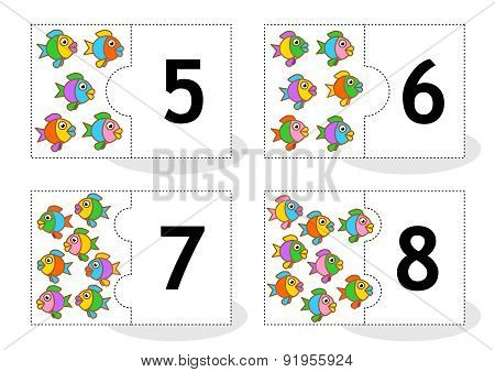 Learn counting puzzle cards with fish, numbers 5 - 8