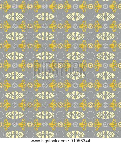 Seamless Floral Pattern, Gray...
