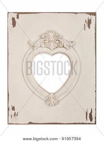 Picture frame in heart shape isolated with clipping path.