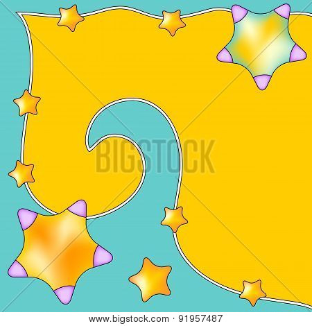 Modern colorful background with curl and stars