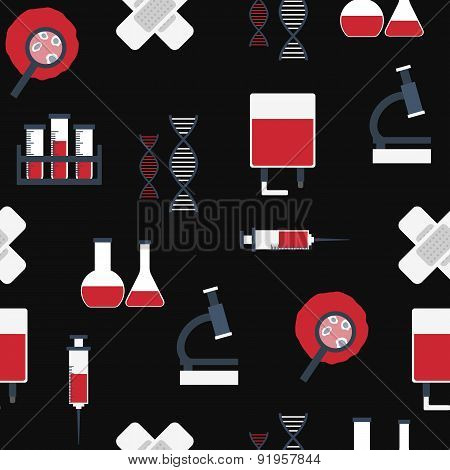 Seamless background with flat objects on blood transfusion theme