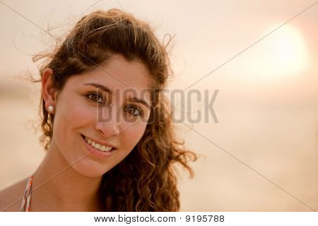 Beautiful Woman At Sunset