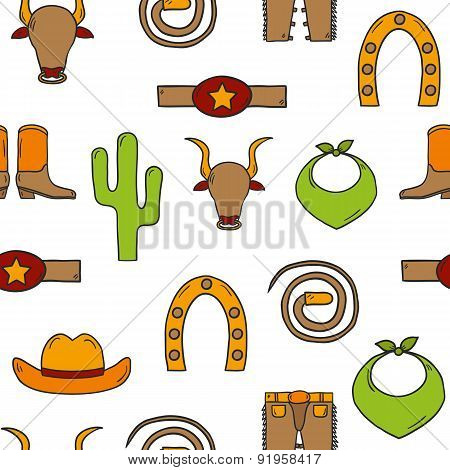 Seamless hand drawn rodeo background