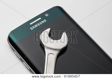 Studio Shot Of A Green Samsung Galaxy S6 Edge Smartphone