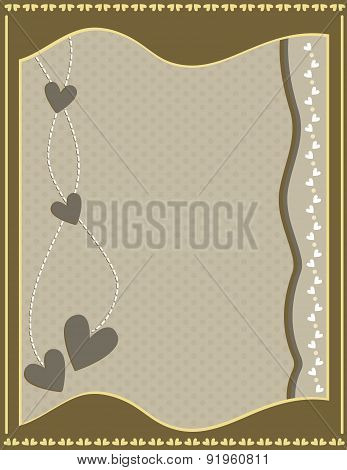 Romantic background with hearts and dots