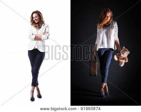 Pretty Woman With Suitcase And Bear Toy Isolated, Studio Shot
