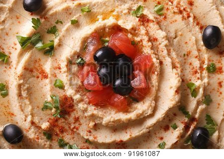 Hummus With Olives And Tomatoes Macro. Horizontal Top View