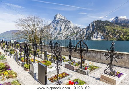Old Cemetery At The Church Yard With Mountain View