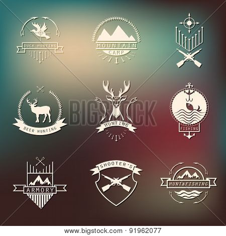 Set Of Camping And  Hunting Logo. Mountain Camp,fishing, Deer H