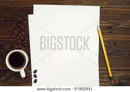 Sheet Of Paper And Coffee