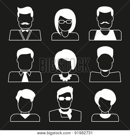 Set Of User Icons. Linear Avatars  Women And Men.