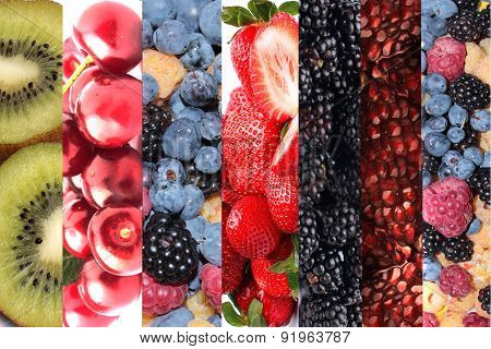 Collage Of Fruits And Berries