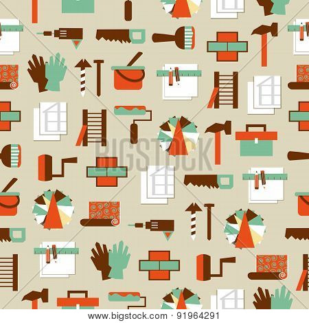 Seamless Pattern Working Tools Icons. Home Repair.