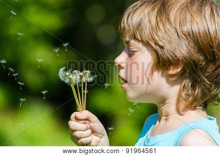 Kid blowing dandelion outdoor on green