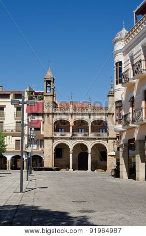 Main Square And The Town Hall Of Plasencia, Caceres. Spain
