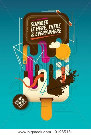 Abstract summer poster with ice cream. Vector illustration.