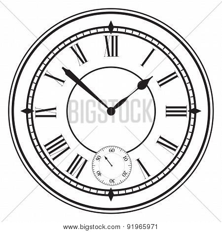 Vector Illustration With Clock Face.