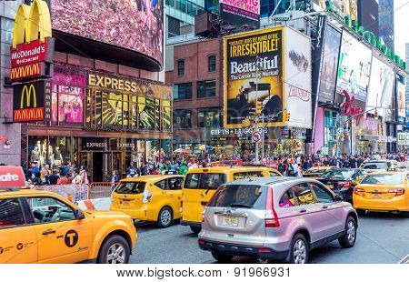 NEW YORK, USA - CIRCA MAY 2015: Vehicles move along Broadway in Times Square in New York City.