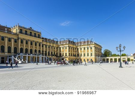 People Visit Schonbrunn Palace In Vienna During Sunny Spring Day Prince Garden View