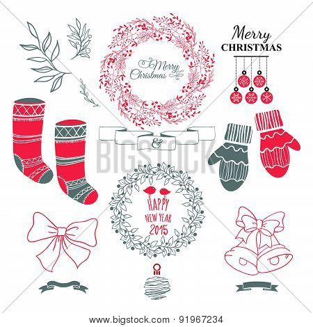 Cute Christmas Set With Wreath & Decorative Elements.
