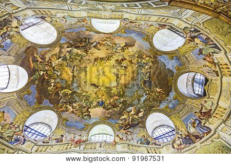 Ceiling Of Austrian National Library In Vienna