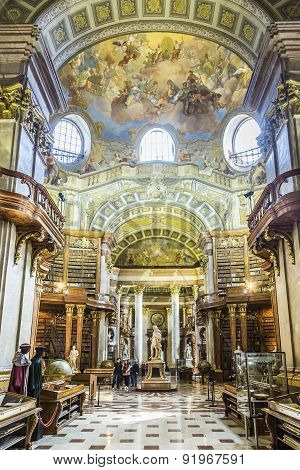 Books In The Beautiful Austrian National Library In Vienna