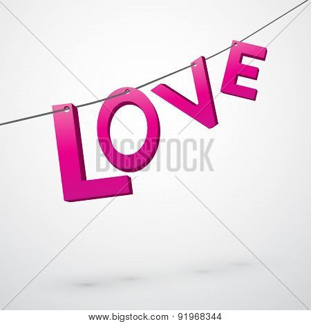 Pink Lettering Love Strung On A String