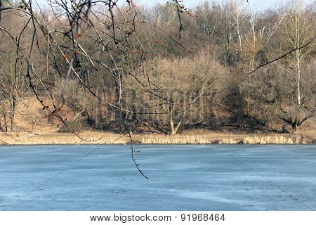 Spring River With Melting Of Ice And Forest