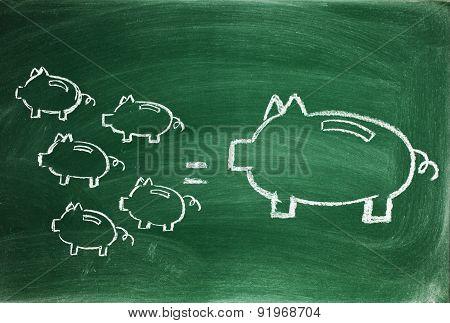 Small savings equal a big saving in time concept on blackboard