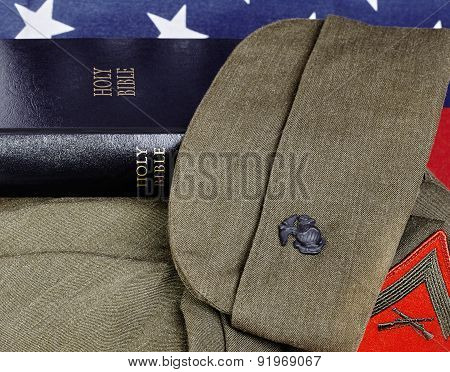 United States Military Flag And Bible