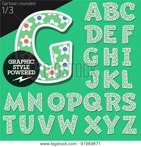 Vector children alphabet set in summer flower style. File contains graphic styles available in Illustrator. Uppercase letters