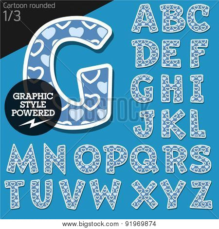 Vector children alphabet set in lovely heart style. File contains graphic styles available in Illustrator. Uppercase letters