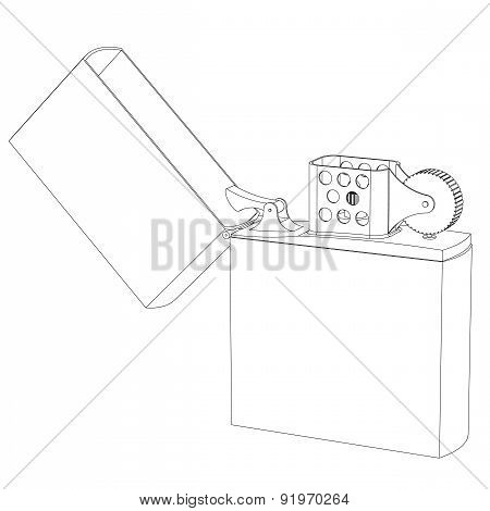 Lighter Gasoline Contour On A White Background