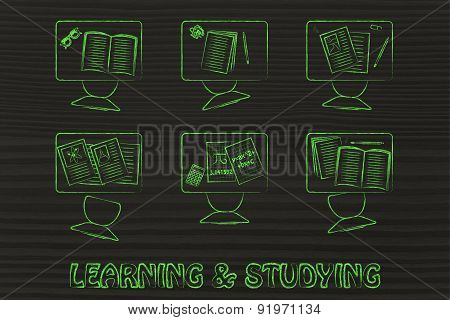 Learning & Studying, Illustration Of A Classroom With Tables, Chairs, Books