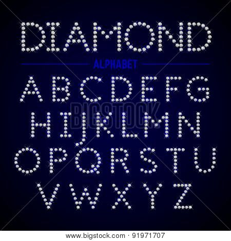 Alphabet letters from diamonds. Vector.