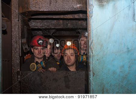 Gorlovka, Ukraine - February 26, 2014: The Miners Of The Mine Named After Kalinin Fall Into The Work