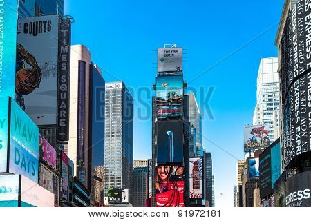 NEW YORK, USA - CIRCA MAY 2015: The famous Times Square in New York, USA. With over 39 million visitors annually, it is one of the world's most visited tourist attractions.