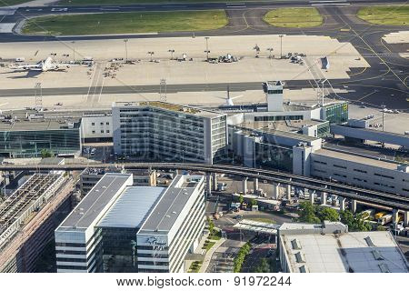 Aerial Of Airport In Frankfurt