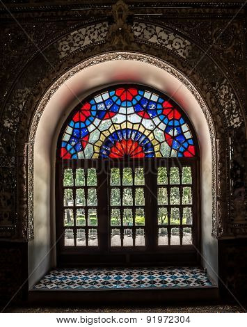 Golestan Palace colorfull window