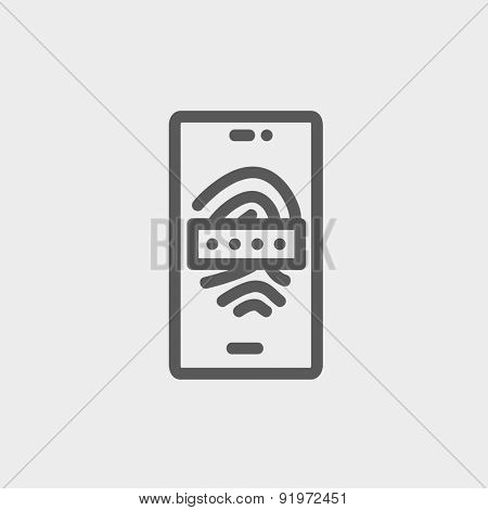 Mobille wifi icon thin line for web and mobile, modern minimalistic flat design. Vector dark grey icon on light grey background.