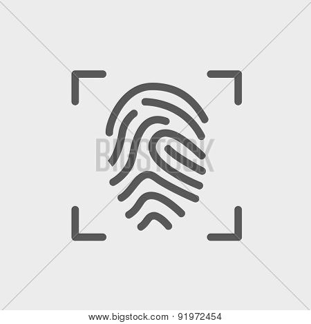 Fingerprint scanning icon thin line for web and mobile, modern minimalistic flat design. Vector dark grey icon on light grey background.