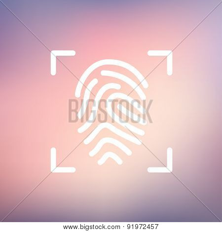 Fingerprint scanning icon thin line for web and mobile, modern minimalistic flat design. Vector white icon on gradient mesh background.