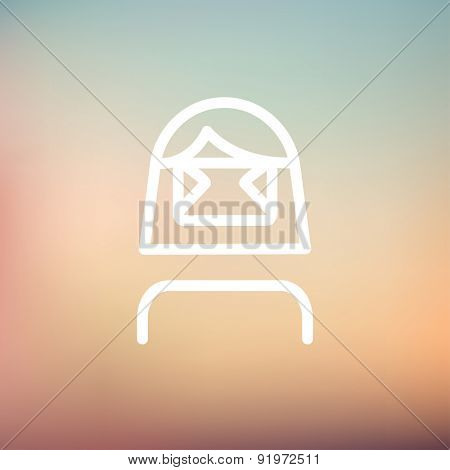 Girl wearing virtual reality headset icon thin line for web and mobile, modern minimalistic flat design. Vector white icon on gradient mesh background.