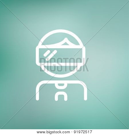 Young boy with VR headset icon thin line for web and mobile, modern minimalistic flat design. Vector white icon on gradient mesh background.
