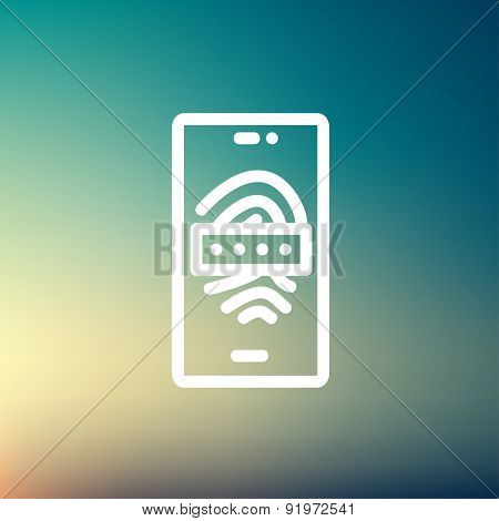Mobile wifi icon thin line for web and mobile, modern minimalistic flat design. Vector white icon on gradient mesh background.