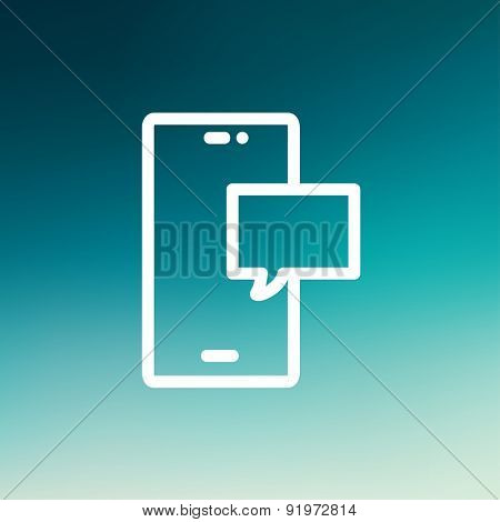 Empty speech bubble in smartphone icon thin line for web and mobile, modern minimalistic flat design. Vector white icon on gradient mesh background.